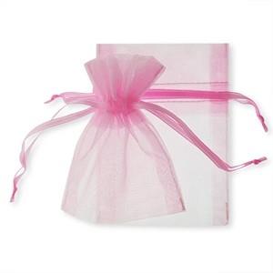 Organza drawstring pouches. Pink. 1/DZ