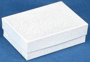 "Cotton Filled Jewelry Box 3 1/4"" x 2 1/4"" x 1"" 3"
