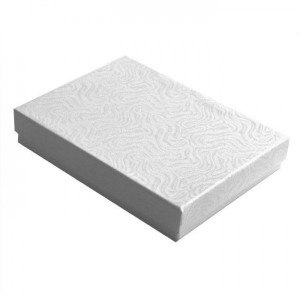 "Cotton Filled Swirl Patterned Jewelry Box  5 3/8"" x 3 7/8"" x 1""."
