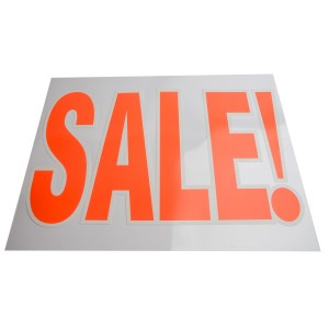 """Sale"" Sign Clear"