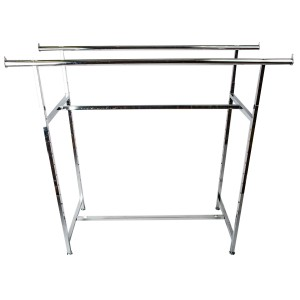 "Clothing Rack Double Rail 60""L Chrome"