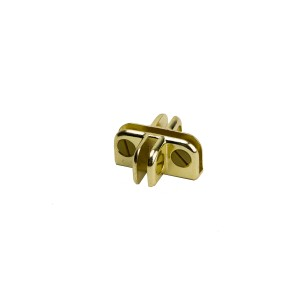 "Connector 4 Way 3/16"" Thick Glass Brass"