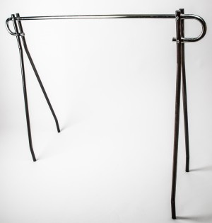 "Single Bar Clothing Rack 48"" W/Blk 2"