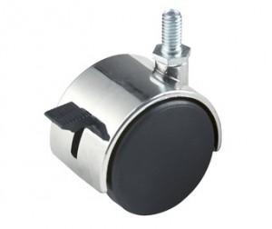 "Plastic Twin Wheel Caster 2"" W/ 5/8"" Stem With Locking"