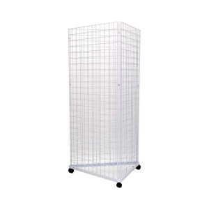 Gridwall Complete Free-Standing Triangle Floor Fixture with Casters. White 2' x 5 '
