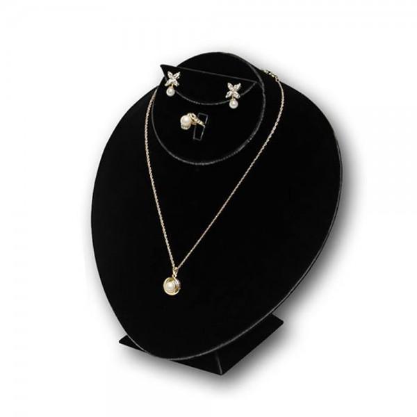 "Black Velvet Bust Jewelry Display 8 1/2"""