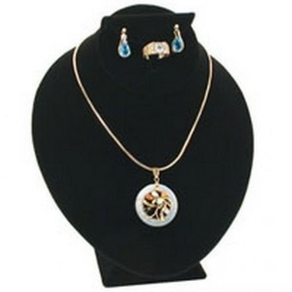 "Black Velvet Bust Jewelry Display 8 1/2"" 2"