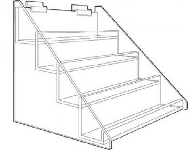 "Slatwall Acrylic 4 Tier Display. 15""W X 11""D X 12.75""H"