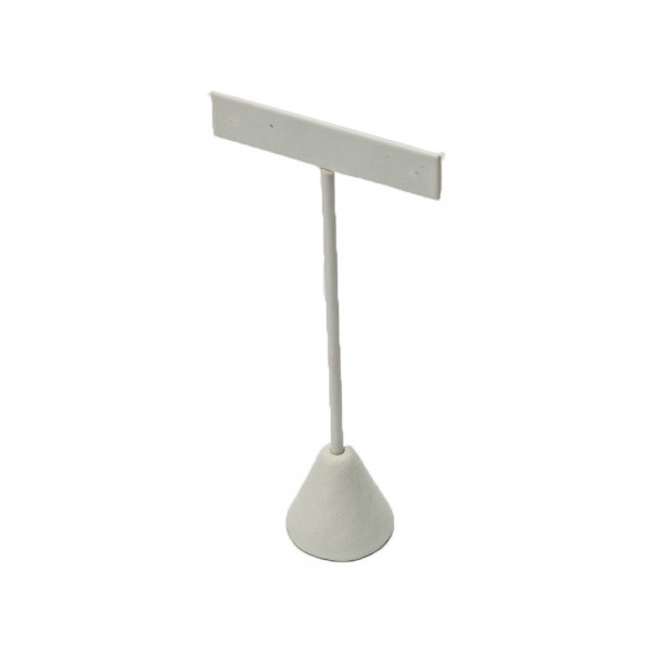 Table Top Earring Display White Faux Leather For Single Pair: 240-2L-W
