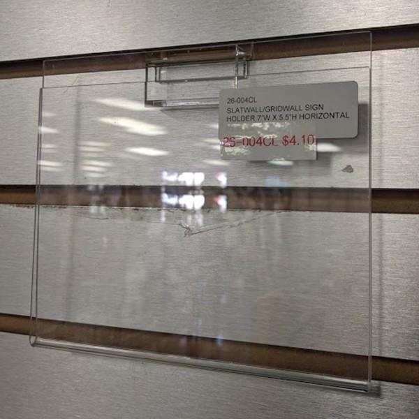 "7"" x 5.5"" Clear Acrylic Slatwall Gridwall Sign Holder"