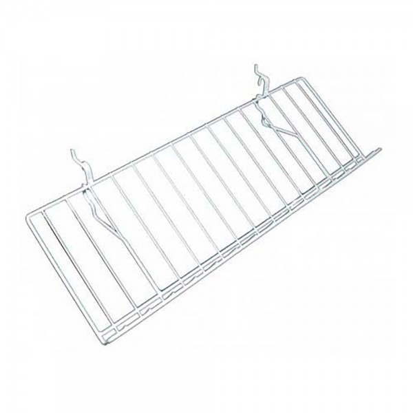 "Slatgrid White Metal Angled Shelf With Lip 23"" x 12"""
