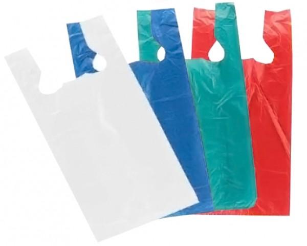 """Plastic White T-Shirt Bags 12"""" 2"""