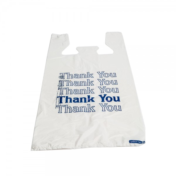 Plastic White T-Shirt Thank You Bags 12""
