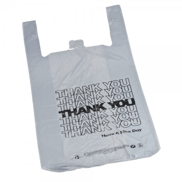 "Plastic White T-Shirt Thank You Bags 12"" 3"