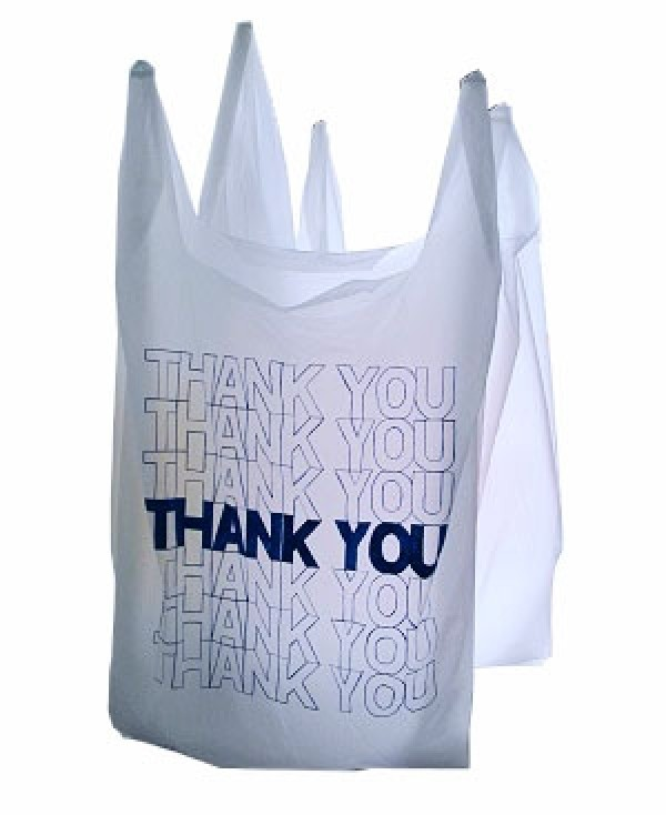 "Plastic White T-Shirt Thank You Bags 12"" 2"
