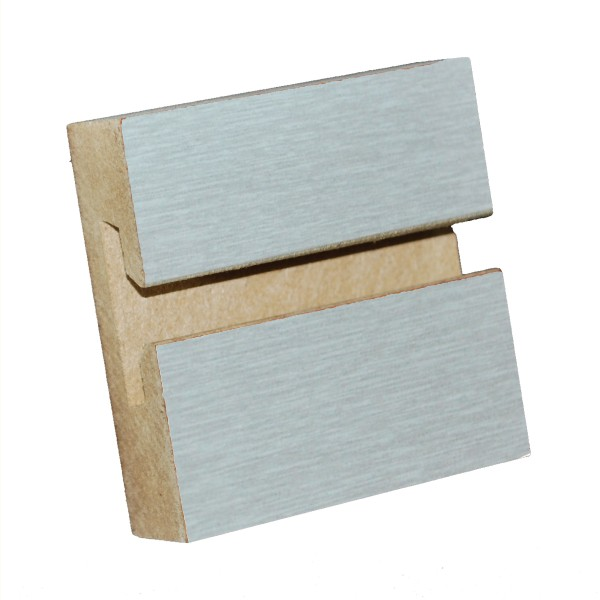"MDF Slatwall Panel 4' x 8' - 975 Brushed Aluminum - LPM - 3"" on Center"