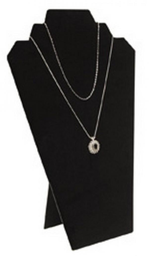 """Black Velvet Necklace Easel Display 12"""" 2"""