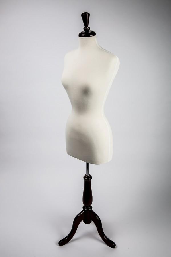 Dress Form Ladies Cream Jersey Walnut Wood 2