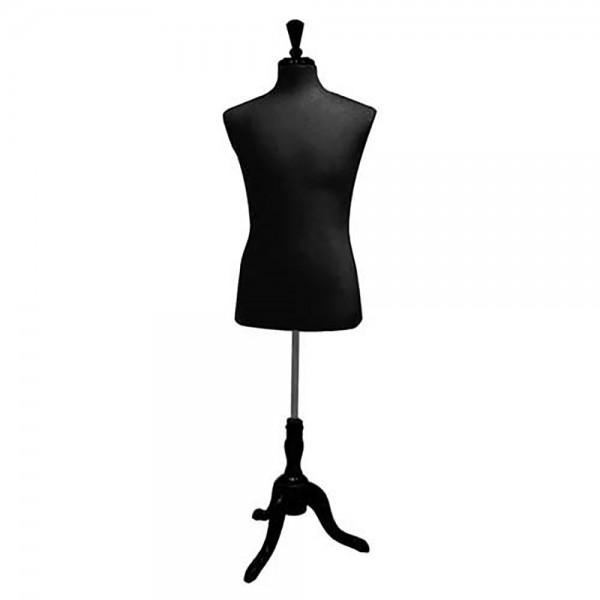 Men's Black Form Mannequin Torso With Base
