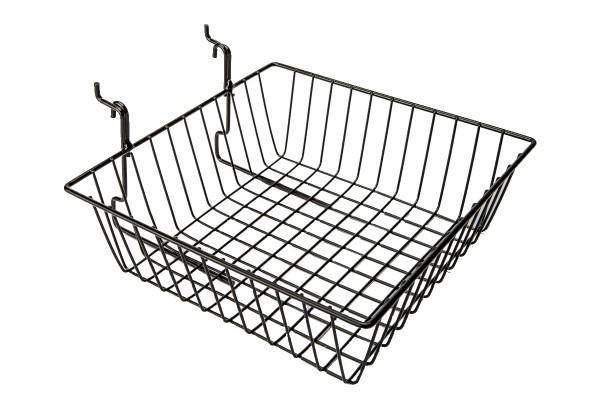 "Grid Slatwall Basket 12"" x 12"" x 4"" Black"