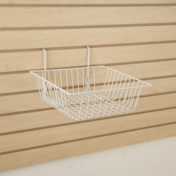 Assorted Gridwall, Slatwall, Pegboard Baskets White