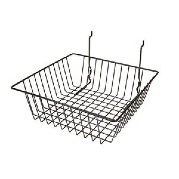 "Grid Slatwall Basket 12"" x 12"" x 4"" Black 5"