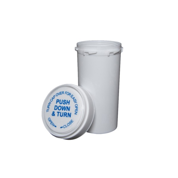 40 Dram Reversible Cap Certified Child Resistant Flower Jars White