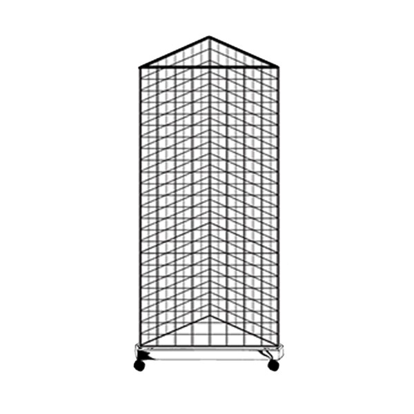 Gridwall Complete Free-Standing Triangle Floor Fixture with Casters. Black 2' x 5 '