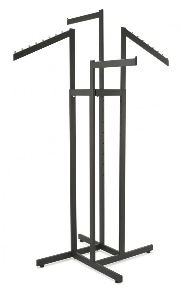 4 Way Rack w/ 2 Straight Arms and 2 Slant Arms Black