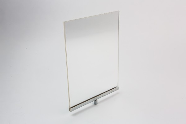 Acrylic Sign Holder With Chrome Channel For Stem Mount Vertical2