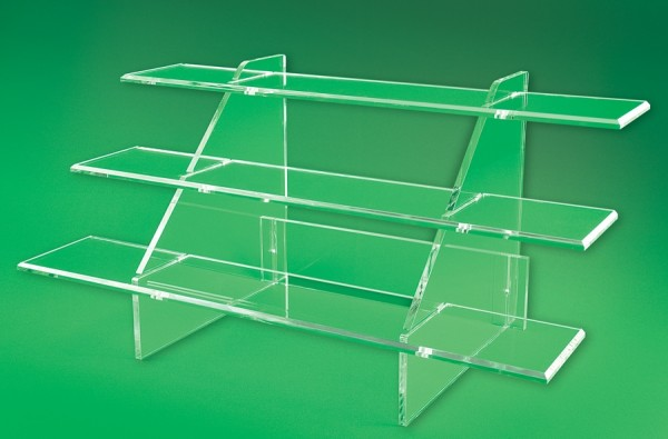 STAIR STEP DISPLAY 3 TIER 13X26X13 CLEAR  1