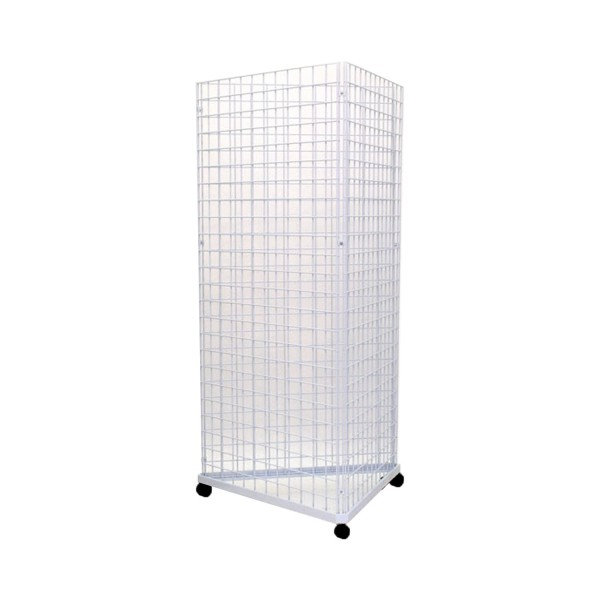 Gridwall Complete Free-Standing Triangle Floor Fixture with Casters. White 2' x 6 ' 3