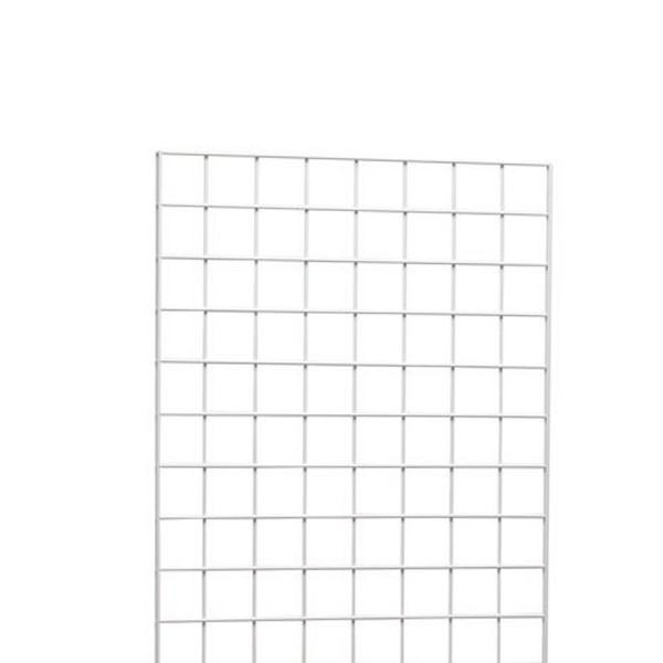 Gridwall Complete Free-Standing Triangle Floor Fixture with Casters. White 2' x 6 ' 6